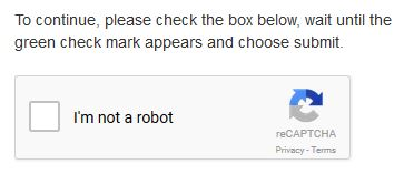 "Screenshot of a CAPTCHA screen with a check box that says ""I'm not a robot"""