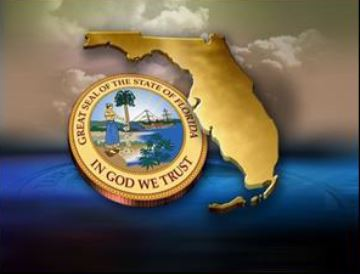 state of Florida with state seal with a orange sky and blue water background
