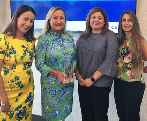 Clerk's HR reps receiving Cigna Well-Being award
