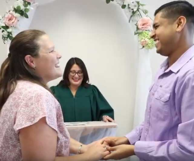 image of a couple getting married at the courthouse