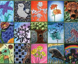 collage of student art featuring flowers and wildlife