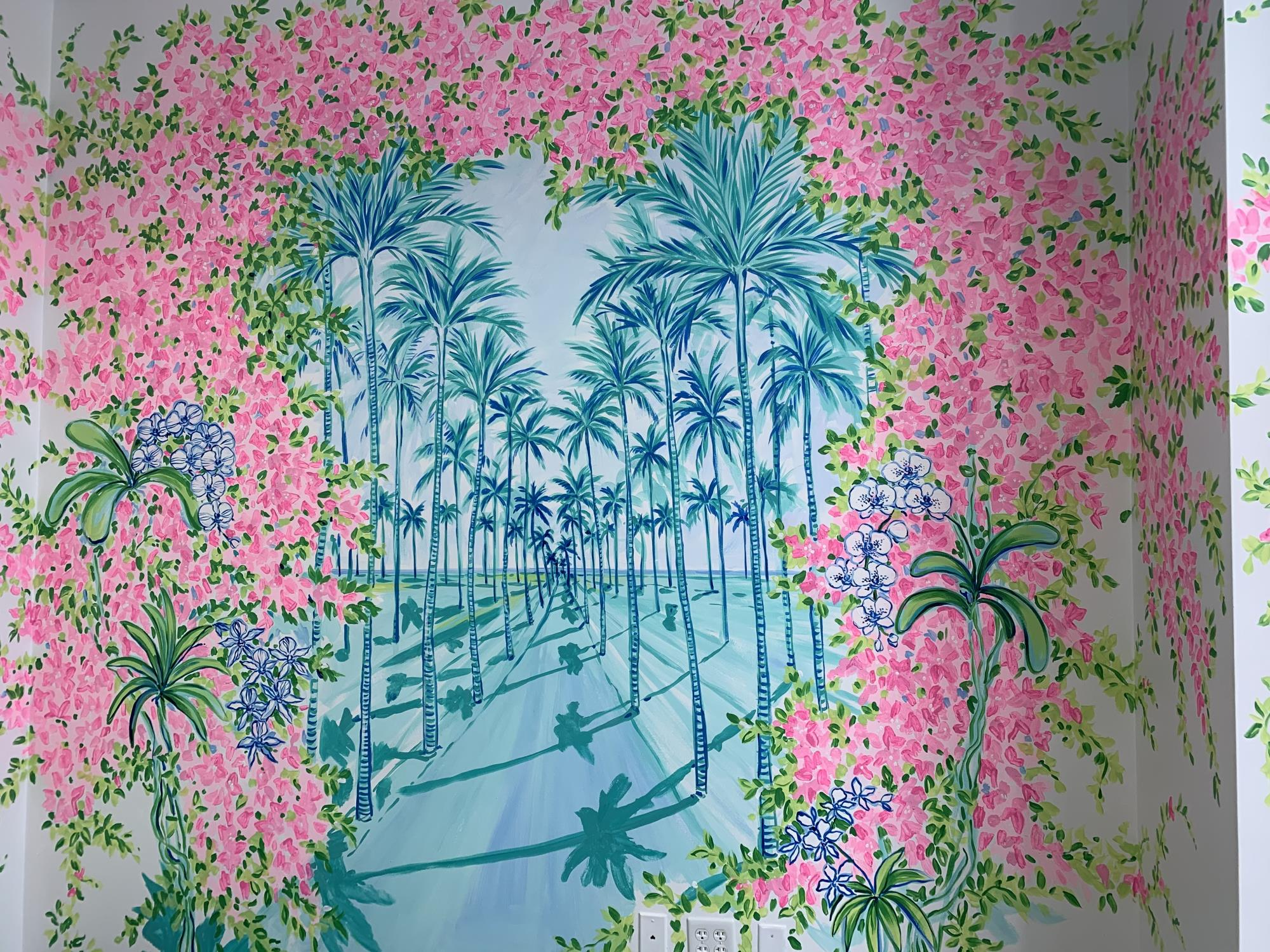 Close-up of Lilly Pulitzer-designed marriage room